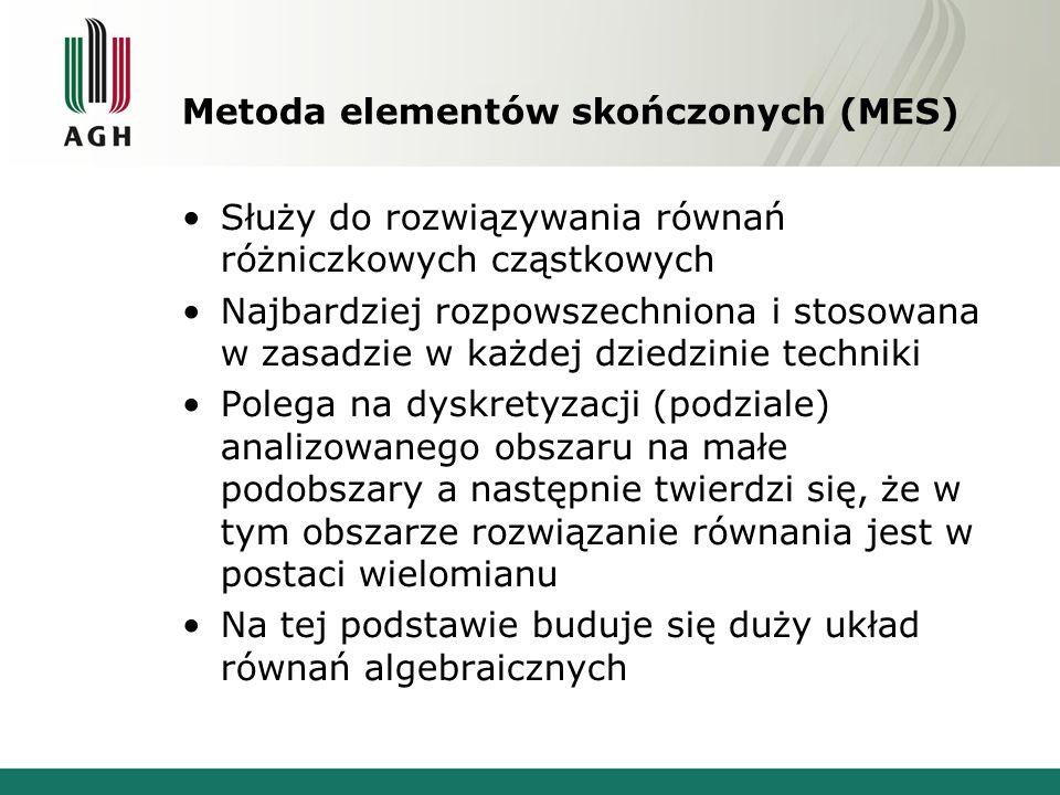 Metoda elementów skończonych (MES) Służy do rozwiązywania równań różniczkowych cząstkowych Najbardziej rozpowszechniona i stosowana w zasadzie w każde