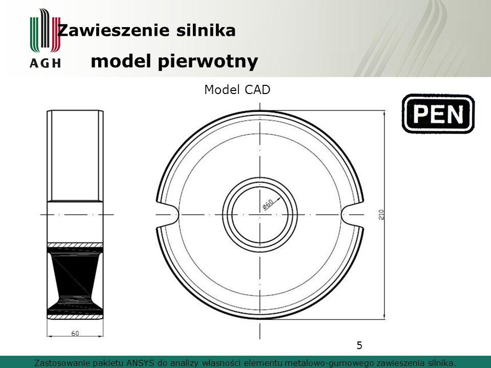 5 model pierwotny Zastosowanie pakietu ANSYS do analizy własności elementu metalowo-gumowego zawieszenia silnika. Model CAD Zawieszenie silnika