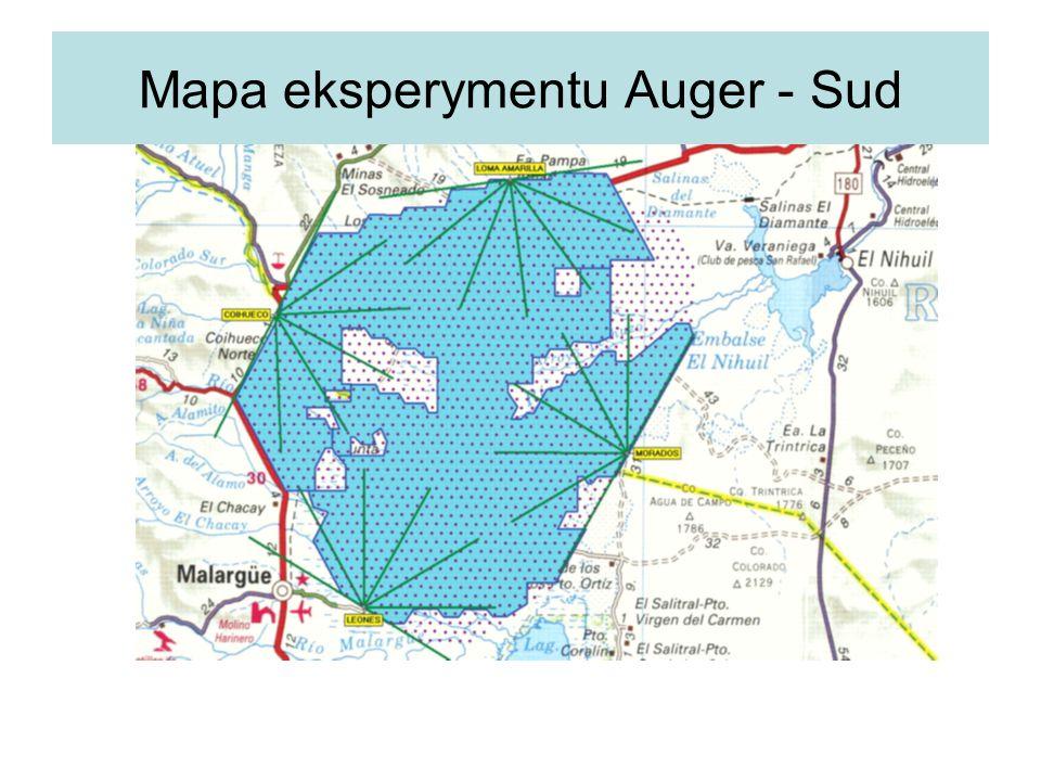 Mapa eksperymentu Auger - Sud