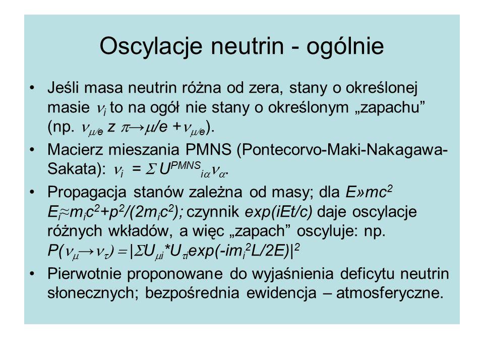 """Oscylacje neutrin - ogólnie Jeśli masa neutrin różna od zera, stany o określonej masie i to na ogół nie stany o określonym """"zapachu (np."""