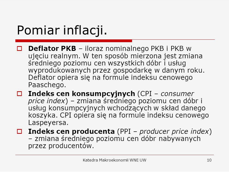 Katedra Makroekonomii WNE UW10 Pomiar inflacji.  Deflator PKB – iloraz nominalnego PKB i PKB w ujęciu realnym. W ten sposób mierzona jest zmiana śred