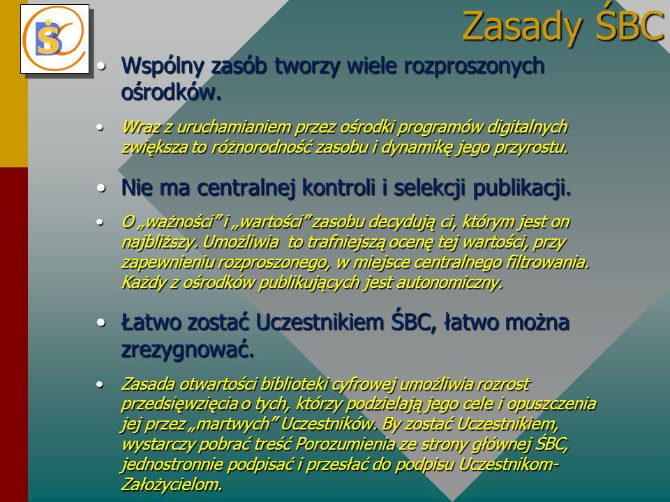 Zasady ŚBC Wspólny zasób tworzy wiele rozproszonych ośrodków.Wspólny zasób tworzy wiele rozproszonych ośrodków.