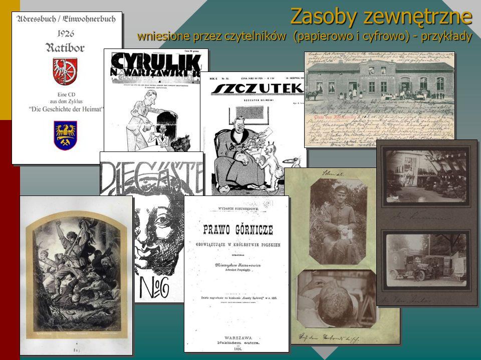 Zasoby zewnętrzne wniesione przez czytelników (papierowo i cyfrowo) - przykłady