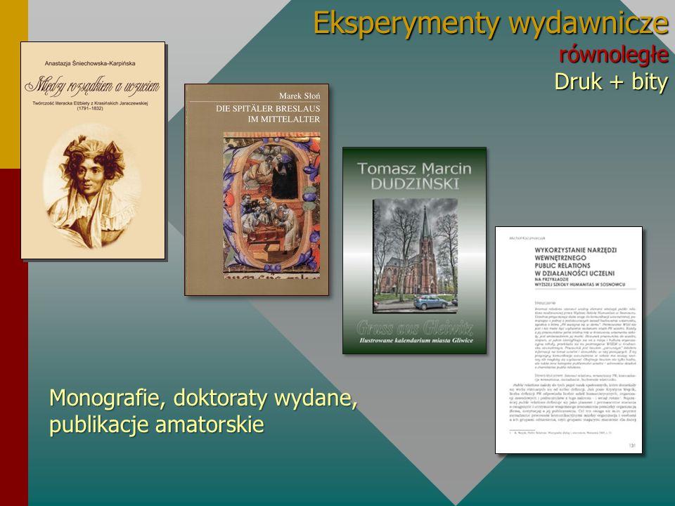 Eksperymenty wydawnicze równoległe Druk + bity Monografie, doktoraty wydane, publikacje amatorskie