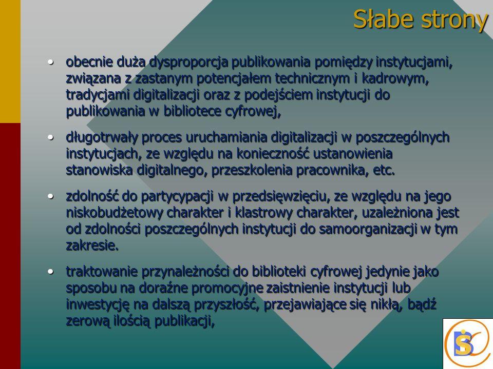 Słabe strony obecnie duża dysproporcja publikowania pomiędzy instytucjami, związana z zastanym potencjałem technicznym i kadrowym, tradycjami digitalizacji oraz z podejściem instytucji do publikowania w bibliotece cyfrowej,obecnie duża dysproporcja publikowania pomiędzy instytucjami, związana z zastanym potencjałem technicznym i kadrowym, tradycjami digitalizacji oraz z podejściem instytucji do publikowania w bibliotece cyfrowej, długotrwały proces uruchamiania digitalizacji w poszczególnych instytucjach, ze względu na konieczność ustanowienia stanowiska digitalnego, przeszkolenia pracownika, etc.długotrwały proces uruchamiania digitalizacji w poszczególnych instytucjach, ze względu na konieczność ustanowienia stanowiska digitalnego, przeszkolenia pracownika, etc.