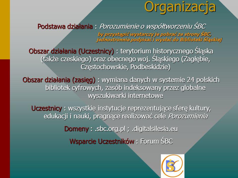 Organizacja Podstawa działania : Porozumienie o współtworzeniu ŚBC by przystąpić wystarczy je pobrać ze strony ŚBC, jednostronnie podpisać i wysłać do Biblioteki Śląskiej Obszar działania (Uczestnicy) : terytorium historycznego Śląska (także czeskiego) oraz obecnego woj.