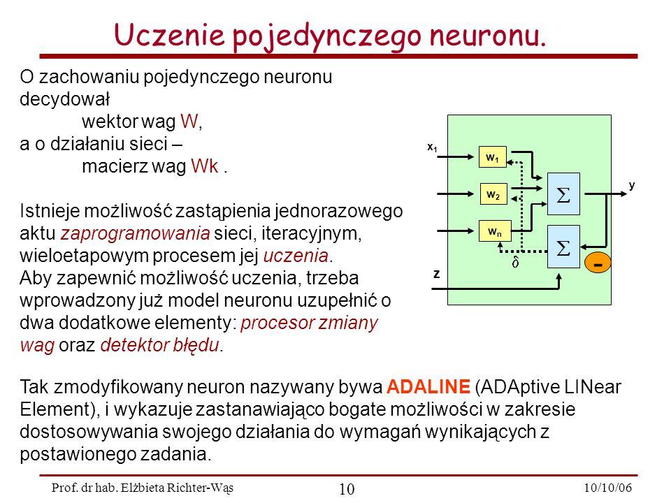 10/10/06 10 Prof.dr hab. Elżbieta Richter-Wąs Uczenie pojedynczego neuronu.