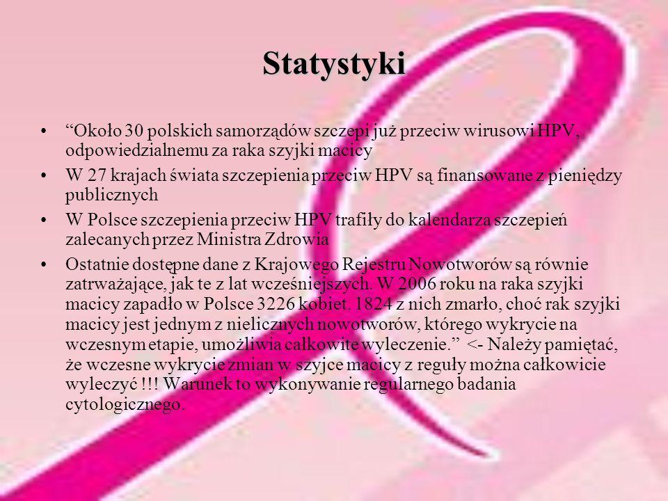 """Statystyki """"Około 30 polskich samorządów szczepi już przeciw wirusowi HPV, odpowiedzialnemu za raka szyjki macicy W 27 krajach świata szczepienia prze"""