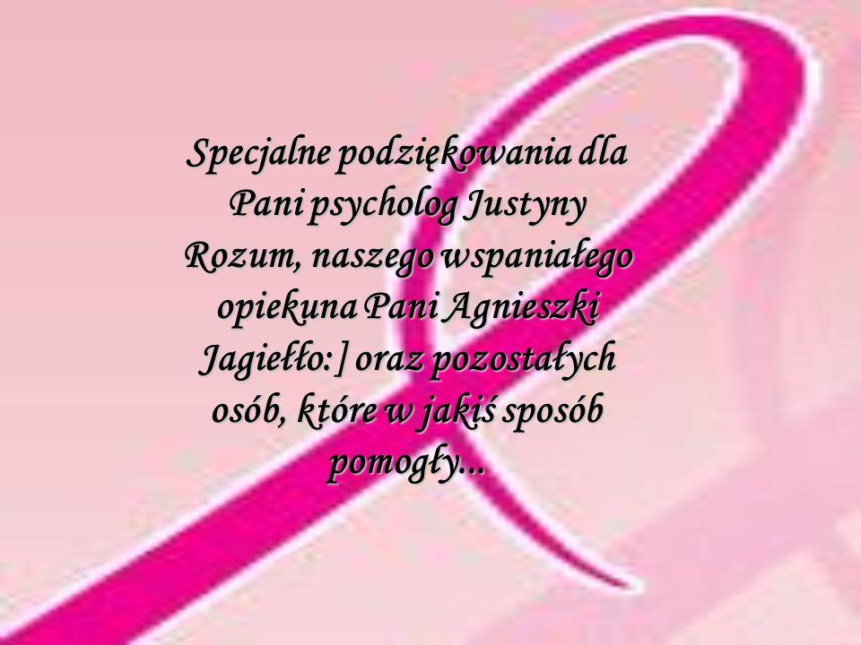 Specjalne podziękowania dla Pani psycholog Justyny Rozum, naszego wspaniałego opiekuna Pani Agnieszki Jagiełło:] oraz pozostałych osób, które w jakiś