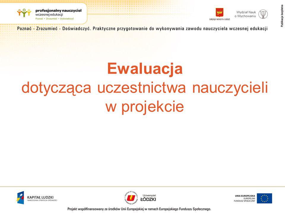 Ewaluacja dotycząca uczestnictwa nauczycieli w projekcie