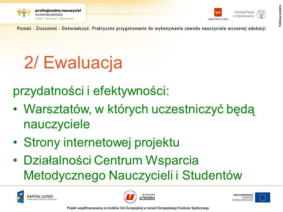 2/ Ewaluacja przydatności i efektywności: Warsztatów, w których uczestniczyć będą nauczyciele Strony internetowej projektu Działalności Centrum Wsparcia Metodycznego Nauczycieli i Studentów