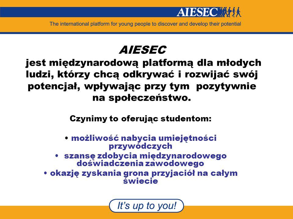 AIESEC jest międzynarodową platformą dla młodych ludzi, którzy chcą odkrywać i rozwijać swój potencjał, wpływając przy tym pozytywnie na społeczeństwo.