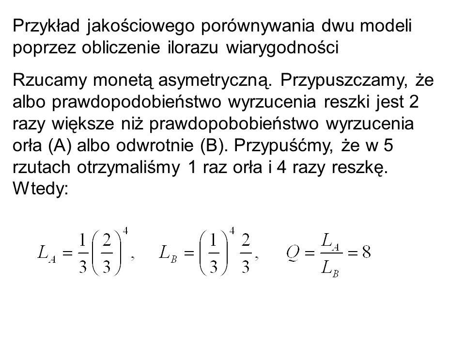 Przykład jakościowego porównywania dwu modeli poprzez obliczenie ilorazu wiarygodności Rzucamy monetą asymetryczną. Przypuszczamy, że albo prawdopodob