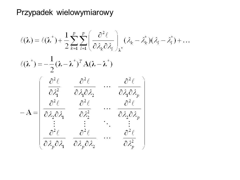 Dla dużych prób rozkład parametrów staje się rozkładem normalnym z macierzą wariancji-kowariancji B.