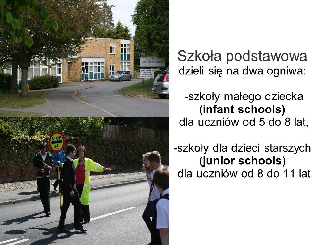Szkoła podstawowa dzieli się na dwa ogniwa: -szkoły małego dziecka (infant schools) dla uczniów od 5 do 8 lat, -szkoły dla dzieci starszych (junior schools) dla uczniów od 8 do 11 lat