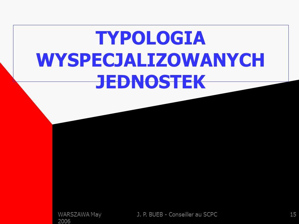 WARSZAWA May 2006 J. P. BUEB - Conseiller au SCPC15 TYPOLOGIA WYSPECJALIZOWANYCH JEDNOSTEK