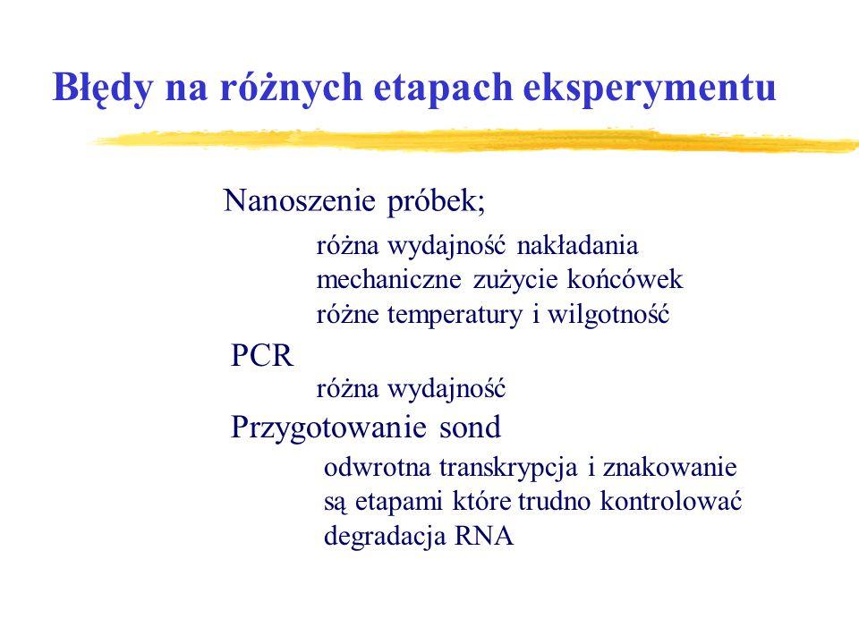 Błędy na różnych etapach eksperymentu Nanoszenie próbek; różna wydajność nakładania mechaniczne zużycie końcówek różne temperatury i wilgotność PCR ró