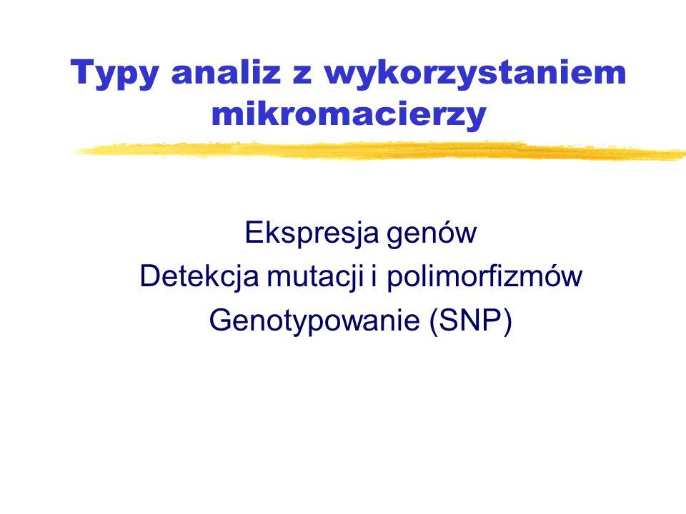 Typy analiz z wykorzystaniem mikromacierzy Ekspresja genów Detekcja mutacji i polimorfizmów Genotypowanie (SNP)