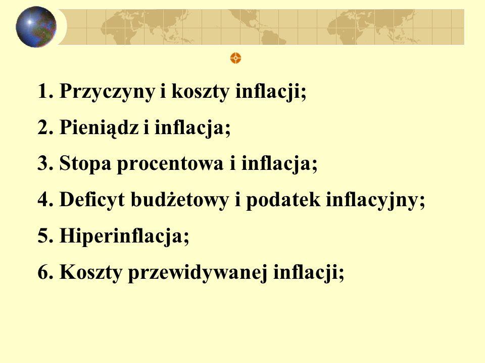 1. Przyczyny i koszty inflacji; 2. Pieniądz i inflacja; 3. Stopa procentowa i inflacja; 4. Deficyt budżetowy i podatek inflacyjny; 5. Hiperinflacja; 6