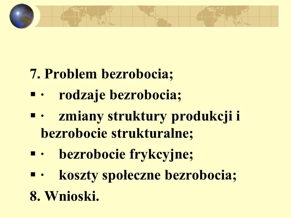 7. Problem bezrobocia;  · rodzaje bezrobocia;  · zmiany struktury produkcji i bezrobocie strukturalne;  · bezrobocie frykcyjne;  · koszty społeczn