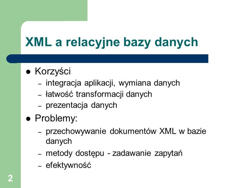 3 XML a relacyjne bazy danych Przechowywanie XML-a w relacyjnych bazach danych – elementy dokumentu XML jako pola tabeli bazodanowej – dokument XML w całości przechowywany w polu bazy danych Sposoby wspierania XML-a przez systemy zarządzania bazami danych – generowanie XML-a na podstawie zawartości bazy danych – wypełnianie zawartości bazy na podstawie zawartości dokumentu XML – specjalne indeksowanie pól zawierających XML – wbudowane parsery XML i procesory XSLT – integracja z serwerem WWW