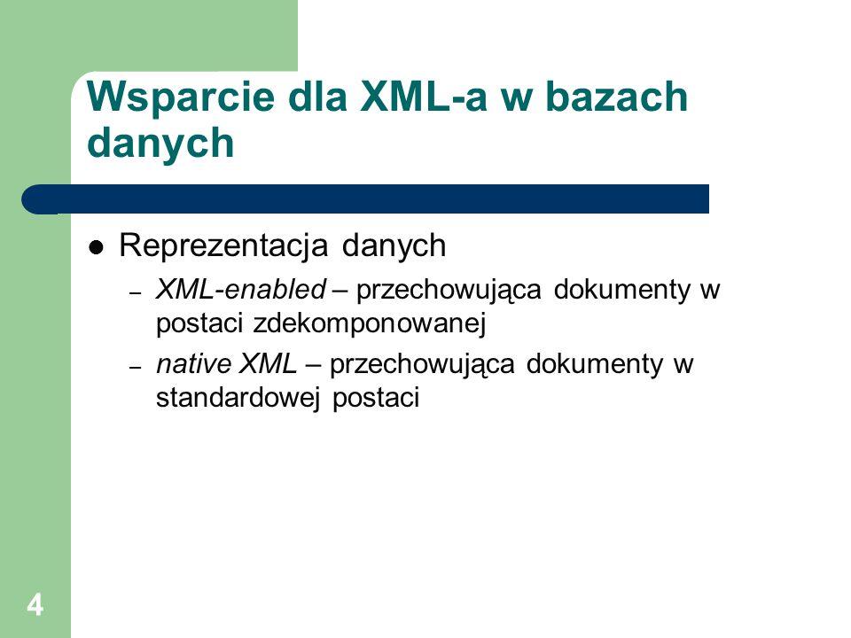 5 Typy baz danych a XML Relacyjna baza danych – konfiguracja struktur danych przy pomocy tabel i relacji – umożliwia eksport i import danych w postaci dokumentów XML – struktura dokumentów XML pochodną relacyjnych struktur danych – zastosowanie: integracja, wymiana danych XML-owa baza danych – przechowuje dokumenty XML – konfiguracja struktur danych przy pomocy DTD/XML Schema – Indeksowanie elementów, atrybutów, wyrażeń XPath – wyszukiwanie z użyciem XQuery – zastosowanie: przechowywanie i przetwarzanie dokumentów strukturalnych