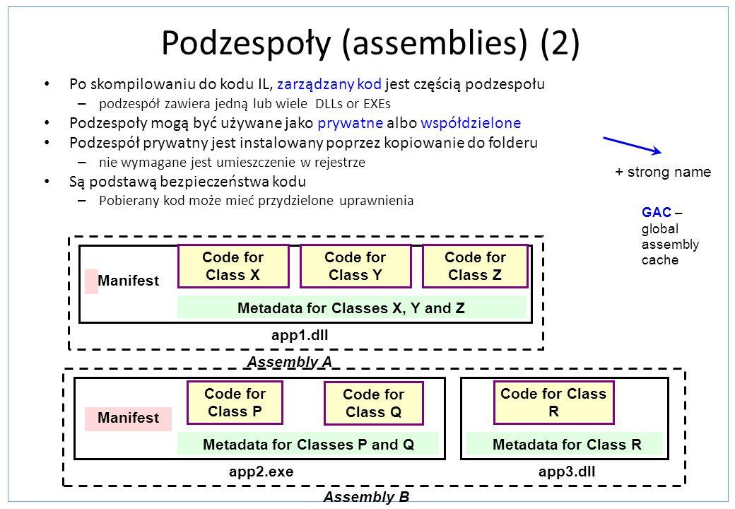 Podzespoły (assemblies) (2) Po skompilowaniu do kodu IL, zarządzany kod jest częścią podzespołu – podzespół zawiera jedną lub wiele DLLs or EXEs Podze