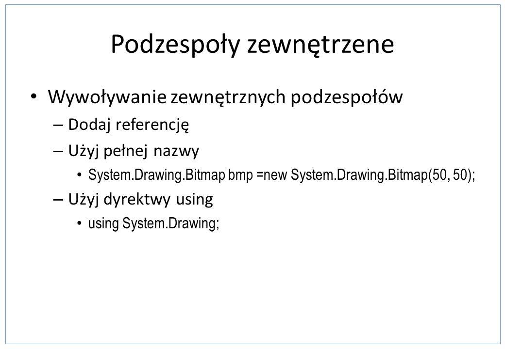 Podzespoły zewnętrzene Wywoływanie zewnętrznych podzespołów – Dodaj referencję – Użyj pełnej nazwy System.Drawing.Bitmap bmp =new System.Drawing.Bitma