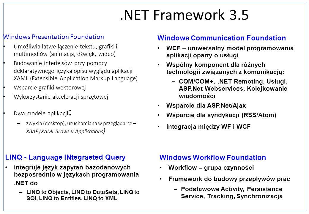 .NET Framework 3.5 Windows Presentation Foundation Umożliwia łatwe łączenie tekstu, grafiki i multimediów (animacja, dźwięk, wideo) Budowanie interfej