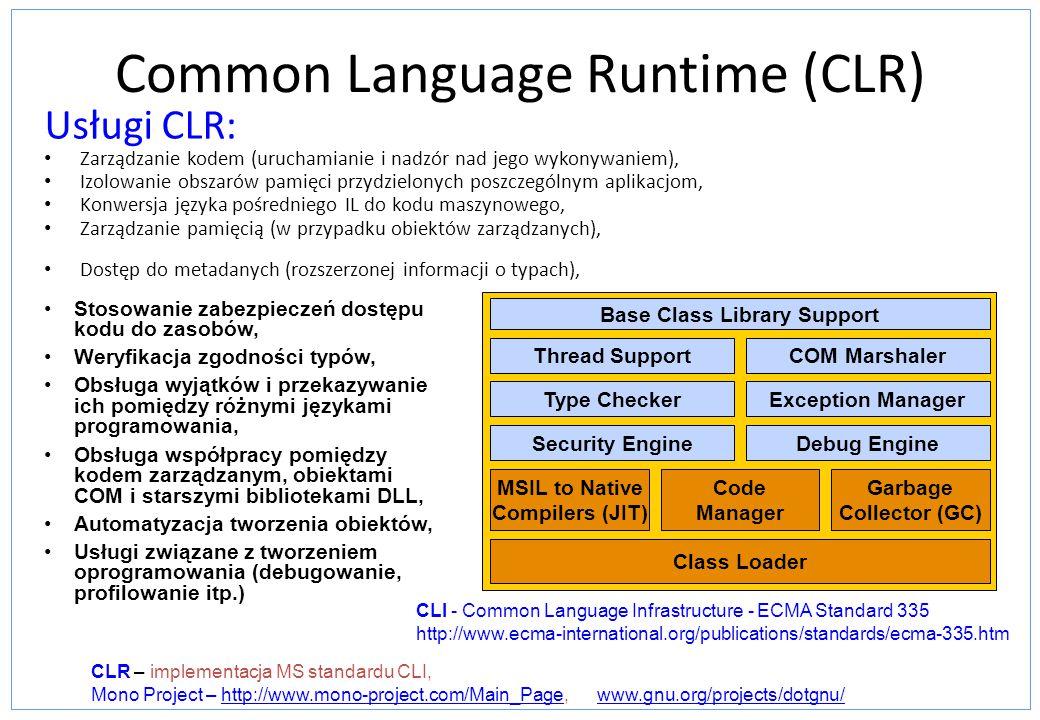Common Language Runtime (CLR) Usługi CLR: Zarządzanie kodem (uruchamianie i nadzór nad jego wykonywaniem), Izolowanie obszarów pamięci przydzielonych