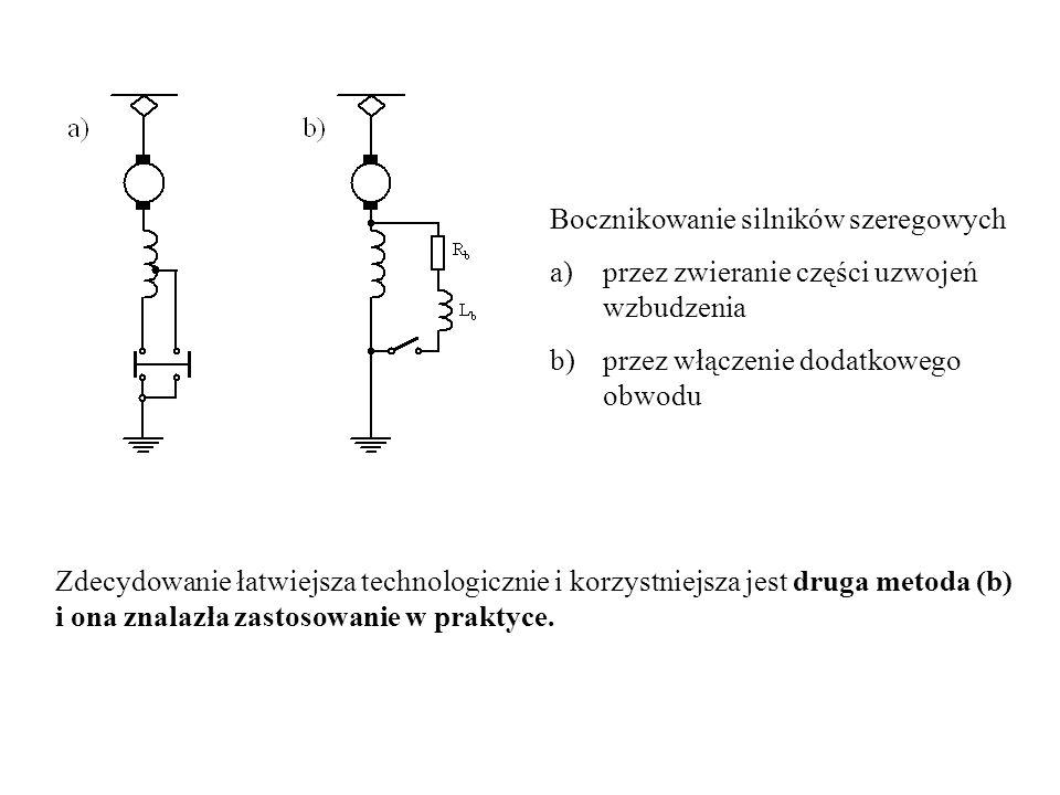 Bocznikowanie silników szeregowych a)przez zwieranie części uzwojeń wzbudzenia b)przez włączenie dodatkowego obwodu Zdecydowanie łatwiejsza technologi