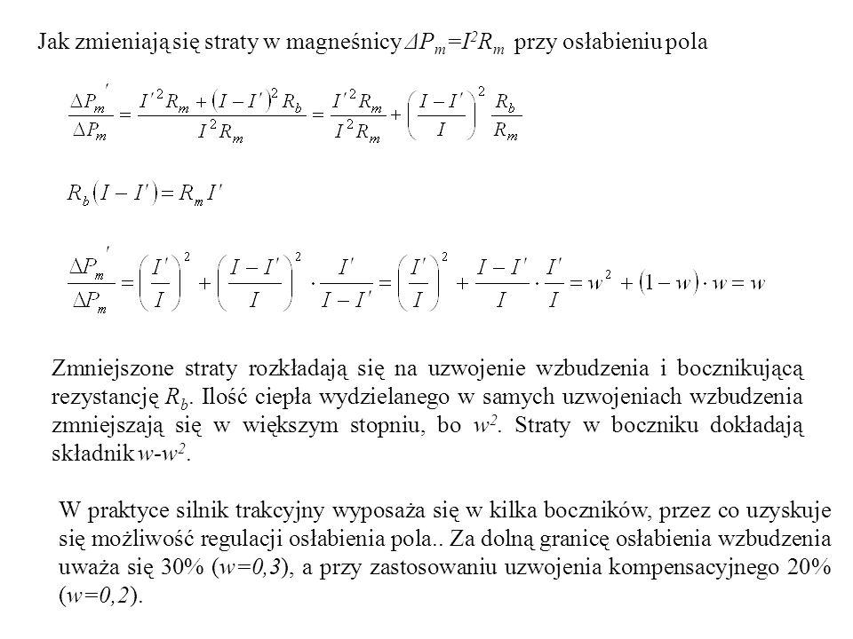 Jak zmieniają się straty w magneśnicy ΔP m =I 2 R m przy osłabieniu pola Zmniejszone straty rozkładają się na uzwojenie wzbudzenia i bocznikującą rezy