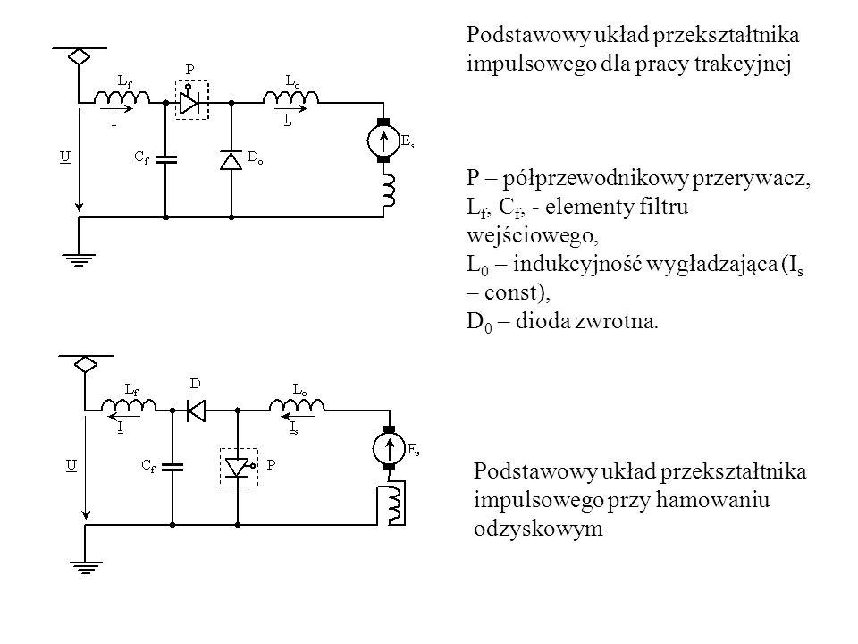 Podstawowy układ przekształtnika impulsowego dla pracy trakcyjnej P – półprzewodnikowy przerywacz, L f, C f, - elementy filtru wejściowego, L 0 – indu
