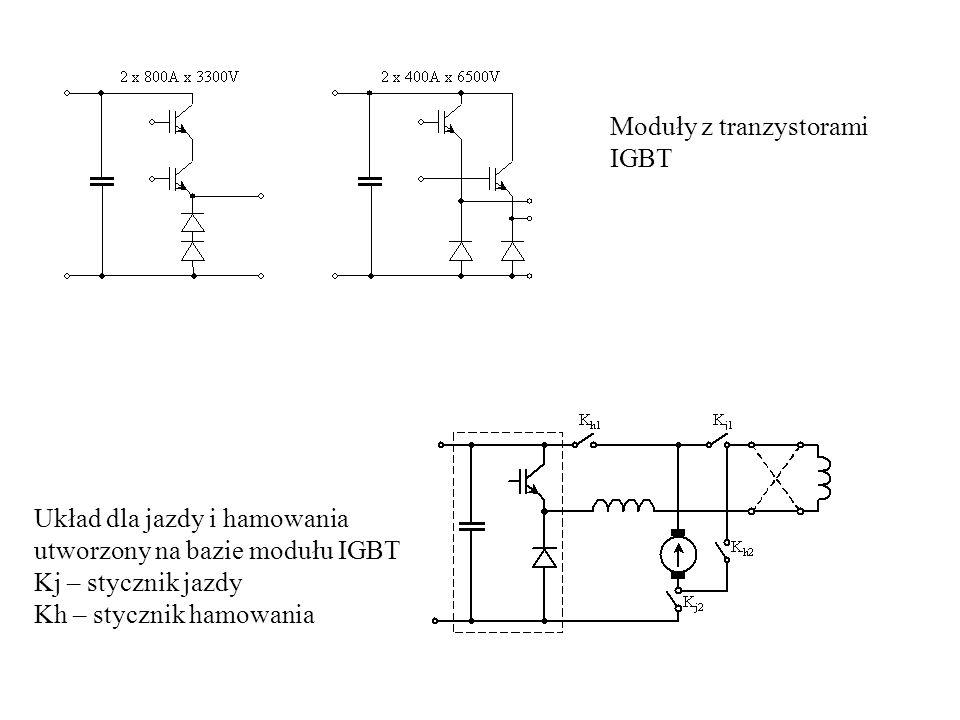 Układ dla jazdy i hamowania utworzony na bazie modułu IGBT Kj – stycznik jazdy Kh – stycznik hamowania Moduły z tranzystorami IGBT