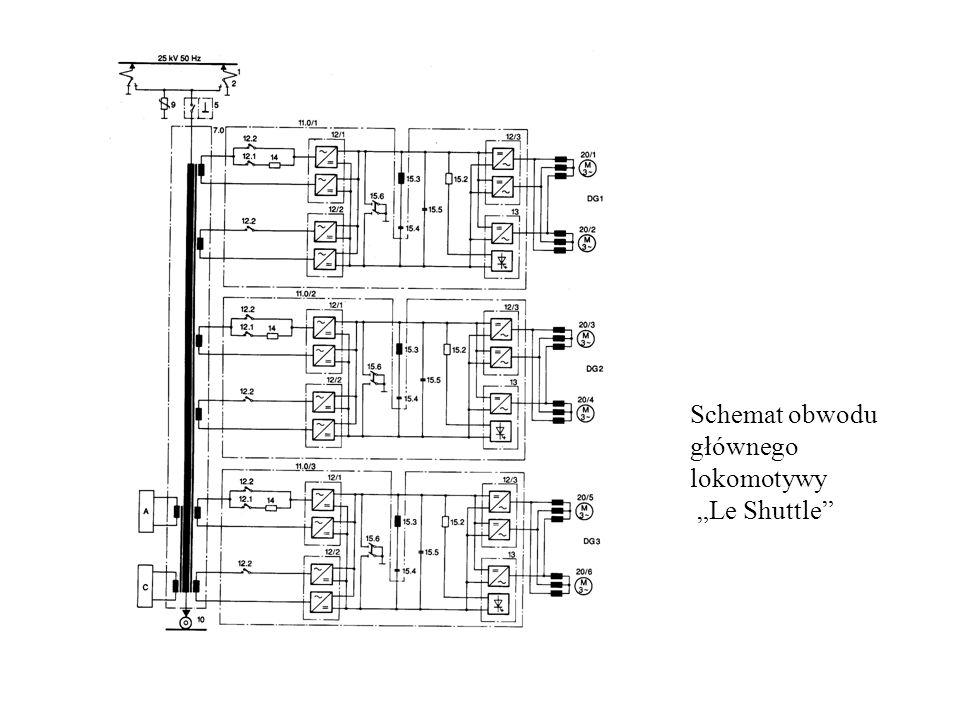"""Schemat obwodu głównego lokomotywy """"Le Shuttle"""""""