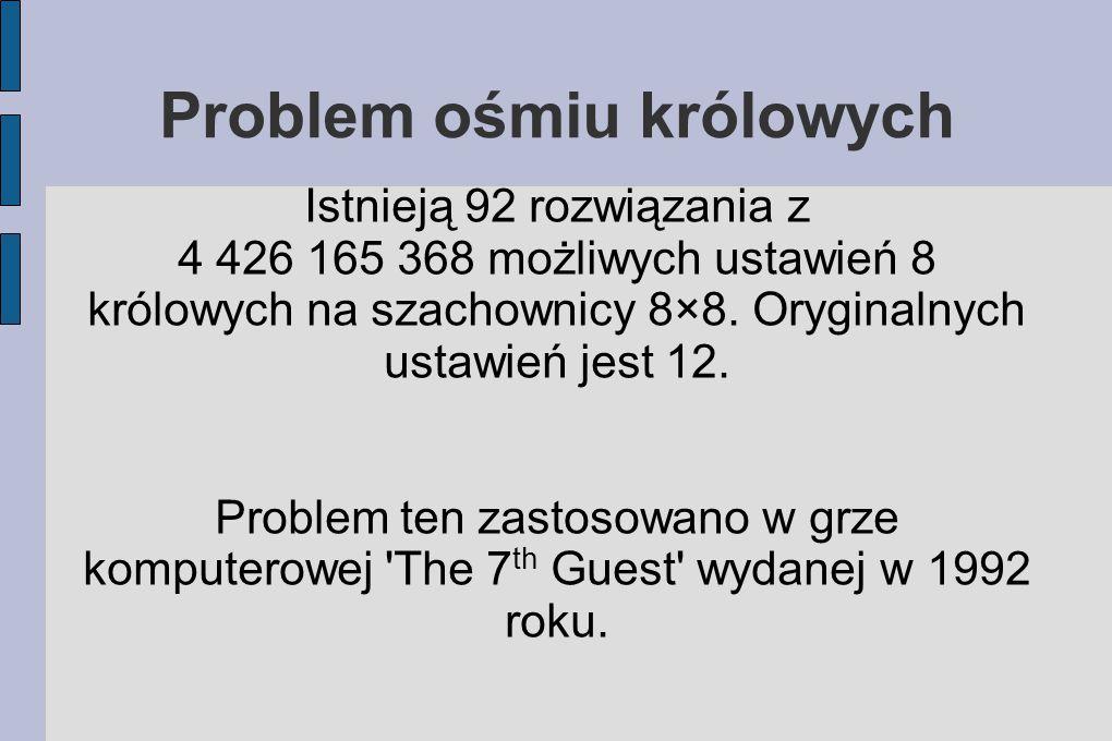 Problem ośmiu królowych Istnieją 92 rozwiązania z 4 426 165 368 możliwych ustawień 8 królowych na szachownicy 8×8.