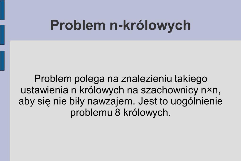 Problem n-królowych Problem polega na znalezieniu takiego ustawienia n królowych na szachownicy n×n, aby się nie biły nawzajem.