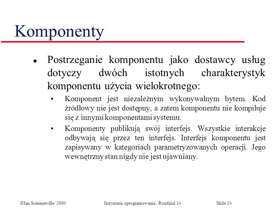 ©Ian Sommerville 2000 Inżynieria oprogramowania, Rozdział 14Slide 14 Komponenty l Postrzeganie komponentu jako dostawcy usług dotyczy dwóch istotnych charakterystyk komponentu użycia wielokrotnego: Komponent jest niezależnym wykonywalnym bytem.