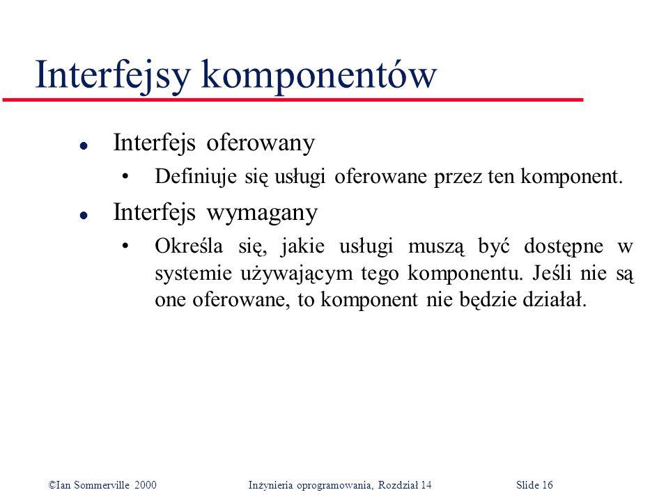 ©Ian Sommerville 2000 Inżynieria oprogramowania, Rozdział 14Slide 16 Interfejsy komponentów l Interfejs oferowany Definiuje się usługi oferowane przez ten komponent.