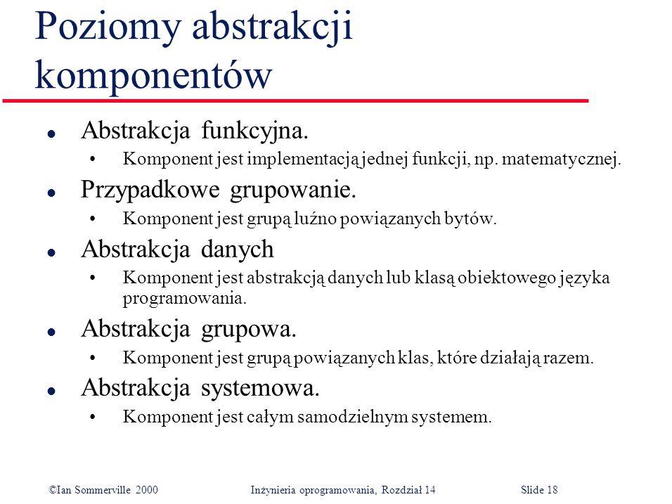 ©Ian Sommerville 2000 Inżynieria oprogramowania, Rozdział 14Slide 18 Poziomy abstrakcji komponentów l Abstrakcja funkcyjna.