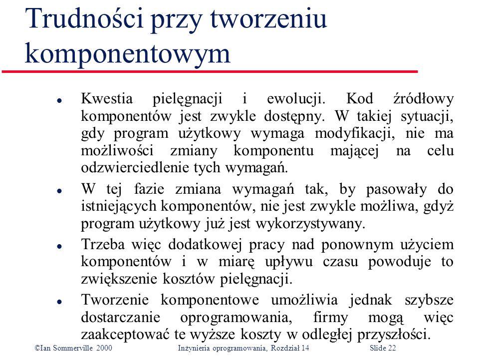 ©Ian Sommerville 2000 Inżynieria oprogramowania, Rozdział 14Slide 22 Trudności przy tworzeniu komponentowym l Kwestia pielęgnacji i ewolucji.