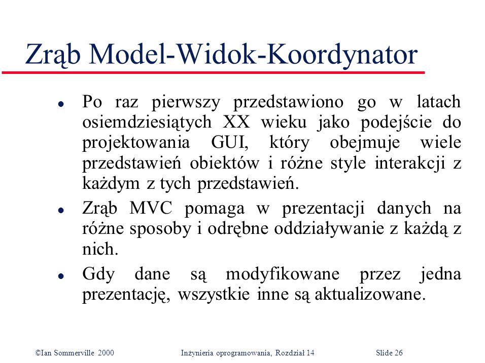 ©Ian Sommerville 2000 Inżynieria oprogramowania, Rozdział 14Slide 26 Zrąb Model-Widok-Koordynator l Po raz pierwszy przedstawiono go w latach osiemdziesiątych XX wieku jako podejście do projektowania GUI, który obejmuje wiele przedstawień obiektów i różne style interakcji z każdym z tych przedstawień.
