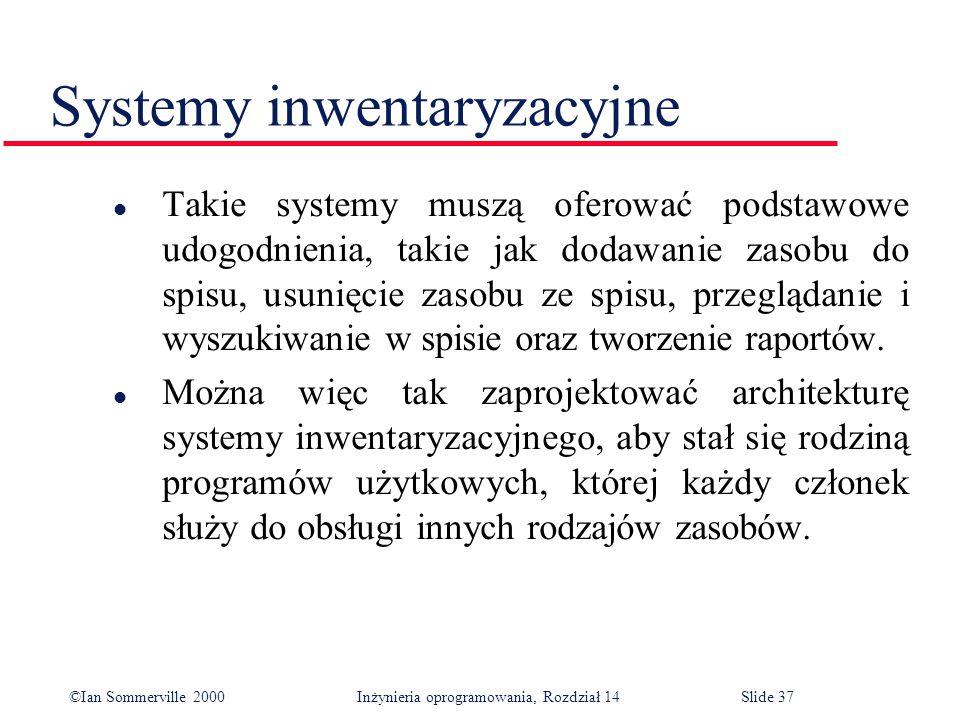 ©Ian Sommerville 2000 Inżynieria oprogramowania, Rozdział 14Slide 37 Systemy inwentaryzacyjne l Takie systemy muszą oferować podstawowe udogodnienia, takie jak dodawanie zasobu do spisu, usunięcie zasobu ze spisu, przeglądanie i wyszukiwanie w spisie oraz tworzenie raportów.