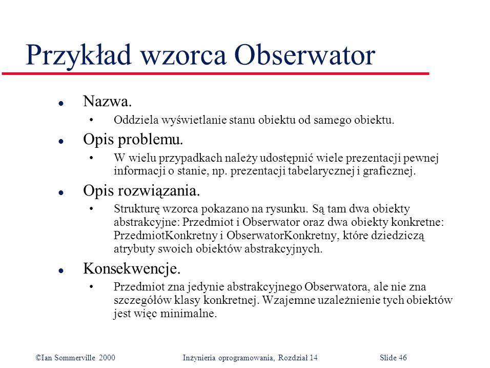 ©Ian Sommerville 2000 Inżynieria oprogramowania, Rozdział 14Slide 46 Przykład wzorca Obserwator l Nazwa.