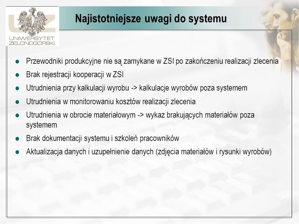 Statystyka pracy w modułach Średnia liczba godzin dziennie pracy z ZSI 4,13 n=32 w tym 27 ważnych Statystyka wykorzystania modułów przez 32 użytkowników