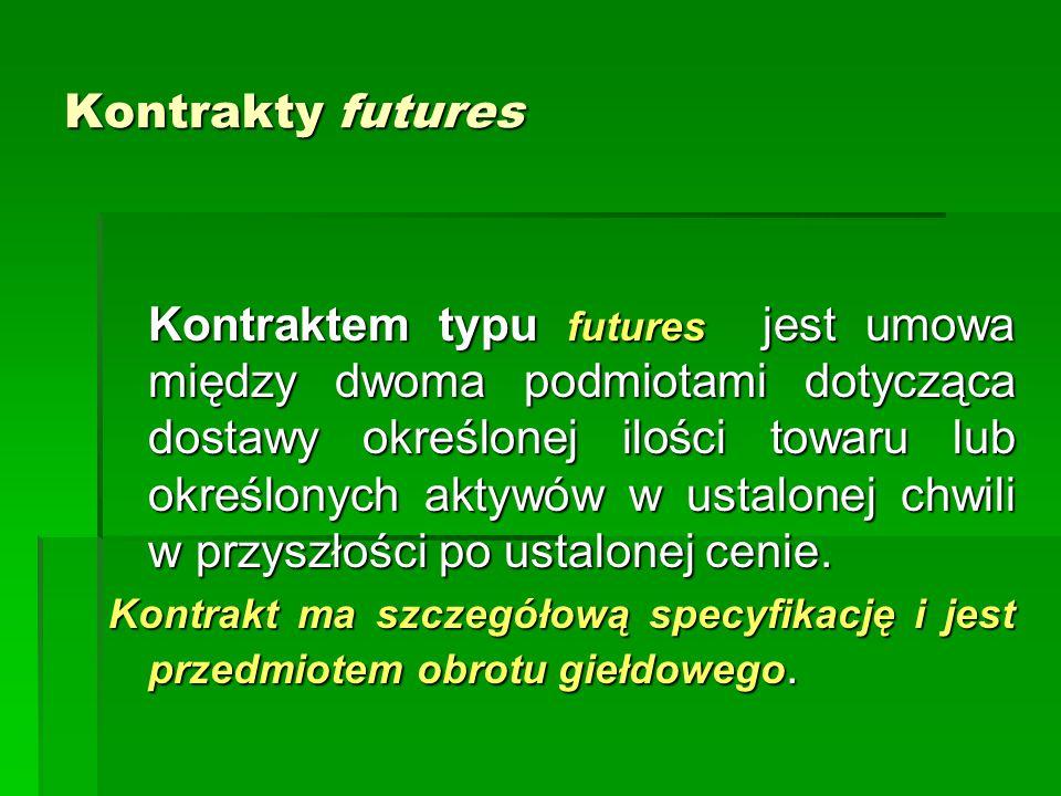 Kontrakty futures Kontraktem typu futures jest umowa między dwoma podmiotami dotycząca dostawy określonej ilości towaru lub określonych aktywów w ustalonej chwili w przyszłości po ustalonej cenie.