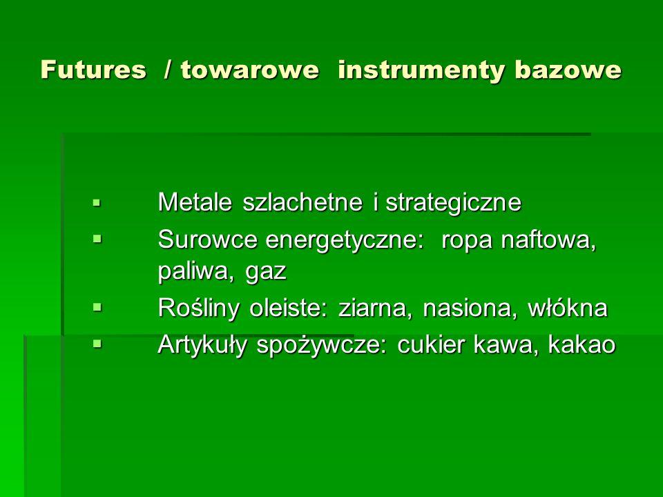 Futures / towarowe instrumenty bazowe  Metale szlachetne i strategiczne  Surowce energetyczne: ropa naftowa, paliwa, gaz  Rośliny oleiste: ziarna, nasiona, włókna  Artykuły spożywcze: cukier kawa, kakao