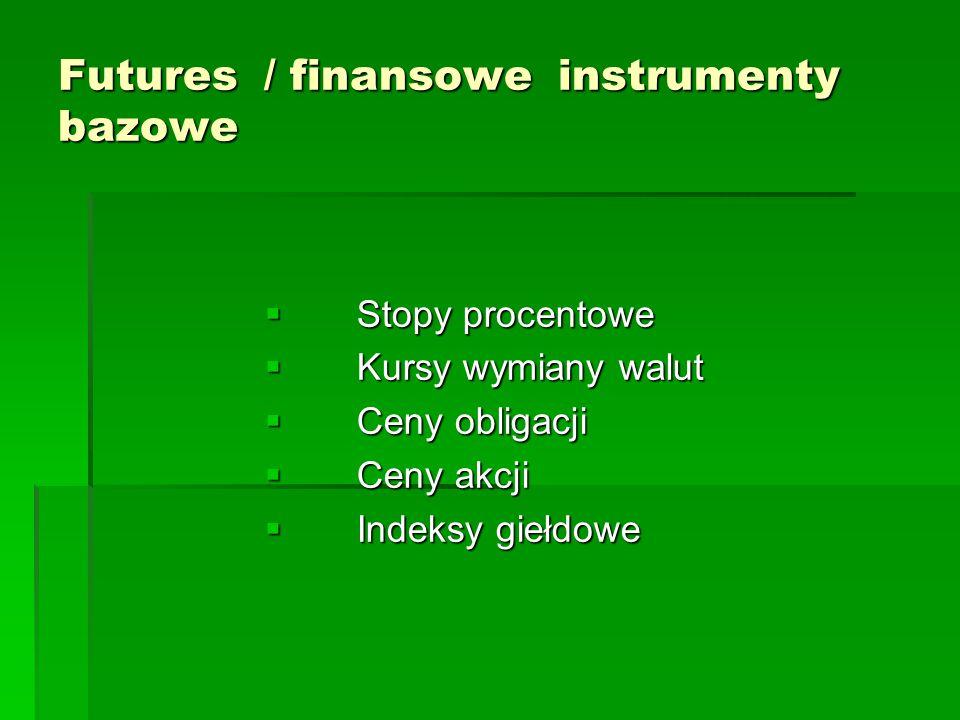 Futures / finansowe instrumenty bazowe  Stopy procentowe  Kursy wymiany walut  Ceny obligacji  Ceny akcji  Indeksy giełdowe