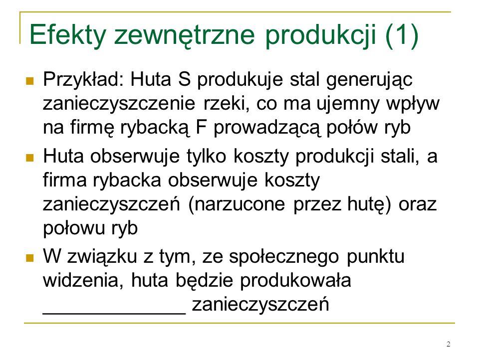 2 Efekty zewnętrzne produkcji (1) Przykład: Huta S produkuje stal generując zanieczyszczenie rzeki, co ma ujemny wpływ na firmę rybacką F prowadzącą p