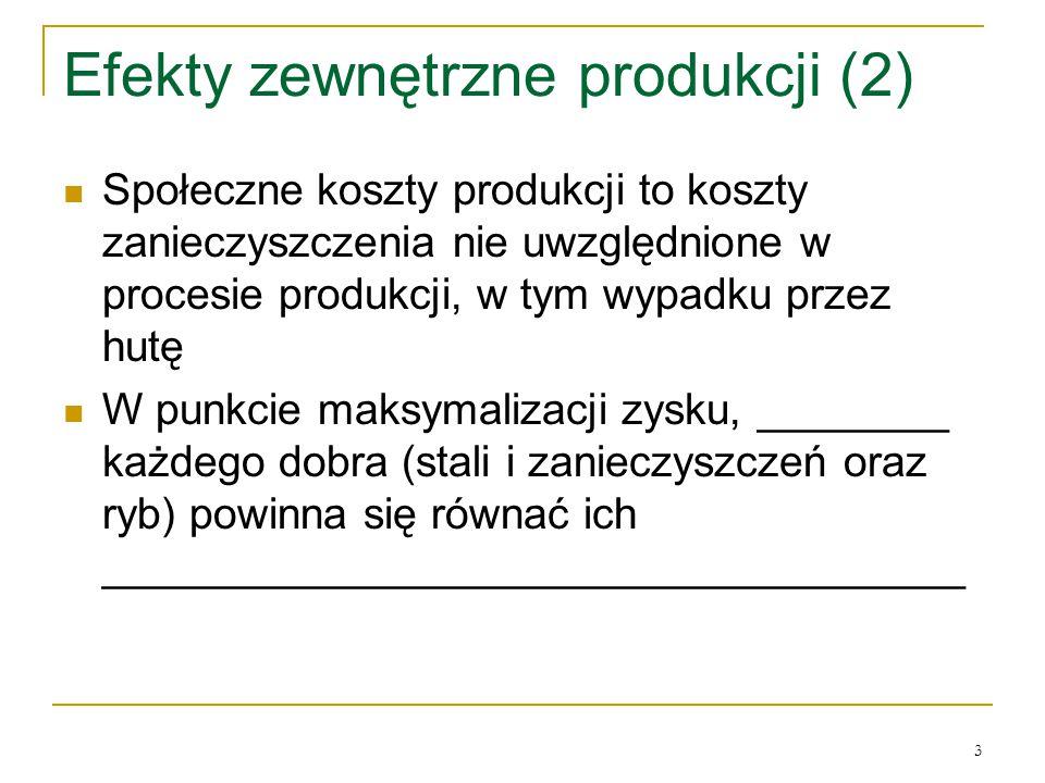 3 Efekty zewnętrzne produkcji (2) Społeczne koszty produkcji to koszty zanieczyszczenia nie uwzględnione w procesie produkcji, w tym wypadku przez hut